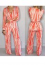 Orange-White Geometric Cut Out V-neck High Waisted Wide Leg Palazzo Long Jumpsuit