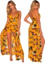 c25610ce375 Yellow Floral Spaghetti Bohemian Plunging V-neck Playsuit Backless Chiffon  Romper with Maxi Overlay