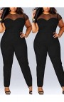 Black Patchwork Grenadine Plus Size Short Sleeve High Waisted Long Jumpsuit
