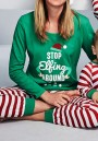 Green-Red Striped Pajamas 2-in-1 Elastic Waist Christmas Long Jumpsuit