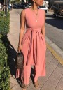 Pink Sashes High Waisted Office Worker/Daily Elegant Party Wide Leg Long Jumpsuit