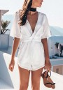 White Plain Drawstring Waist Short Jumpsuit