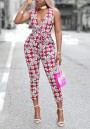 Red Tribal Floral Print Cut Out Backless Deep V-neck Party Nine's Jumpsuit