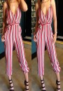 Red Striped Pockets Sashes Spaghetti Strap Club Evening Cocktail Party Casual Long Jumpsuit
