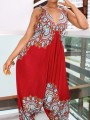 7960747ee6d Red African Print Draped Spaghetti Strap Backless High Waisted Bohemian  Long Jumpsuit