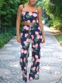 Blue Pink Peach Print Two Piece High Waisted Shoulder-Strap Square Neck Sweet Long Jumpsuit