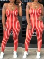 Red White Striped Print Spaghetti Strap Backless Bodycon High Waisted Casual Jumpsuit