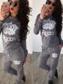 Grey Letter Print Drawstring High Waisted Casual Long Jumpsuit