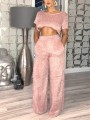Pink Pockets Crop Two Piece High Waisted Casual Long Wide Leg Palazzo Jumpsuit Pants