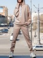 Beige Drawstring Pockets Hooded Long Sleeve Casual Long Jumpsuit