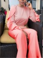 Pink Ruffle Pockets Two Piece Bell Bottomed Flares Party Long Jumpsuit