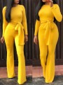 Yellow Belt Bodycon Long Sleeve Elegant Party High Waisted Wide Leg Palazzo Long Jumpsuit