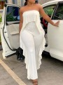 White Off Shoulder Ruffle Party Wide Leg Palazzo Long Jumpsuit
