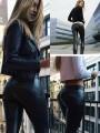 Black Plain Pockets Mid-rise Casual Polyester Long Pants