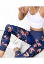 Blue Floral Elastic Waist High Waisted Sports Yoga Legging
