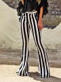 Black-White Striped Casual Mid-rise Long Pants