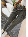 Dark Grey Striped Pockets Belt Fashion Long Pants