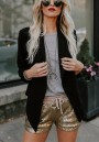 Golden Patchwork Sequin Pockets Drawstring Waist Fashion Shorts