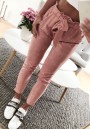 Pink Plain Pockets Drawstring Waist Fashion Nine's Pants