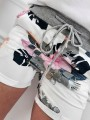 White Floral Drawstring Pockets Fashion Shorts