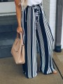 Black Striped Sashes High Waisted Casual Long Pants