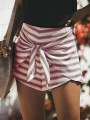 Red Striped Print Zipper Lace-up High Waisted Fashion Short Pants
