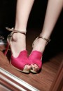 Red Piscine Mouth Chunky Sequin Patchwork Buckle Fashion High-Heeled Sandals