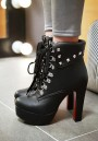 Black Round Toe Chunky Lace-up Casual Ankle Boots