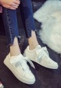 White Round Toe Lace-up Bow Casual Flat Shoes