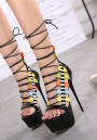 Black Piscine Mouth Stiletto Fashion Patchwork High-Heeled Sandals
