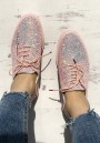 Pink Round Toe Sequin Lace-up Fashion Flat Shoes