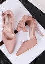 Pink Point Toe Stiletto Bow Velcro Fashion High-Heeled Sandals