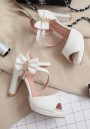 White Piscine Mouth Chunky Bow Sweet High-Heeled Sandals