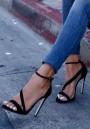 Black Round Toe Stiletto Buckle Fashion High-Heeled Sandals
