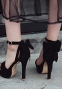 Black Round Toe Stiletto Bow Buckle Fashion High-Heeled Sandals