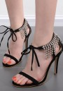 Black Round Toe Stiletto Rhinestone Chain Fashion High-Heeled Sandals