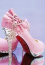 Pink Round Toe Stiletto Rhinestone Bow Fashion High-Heeled Shoes