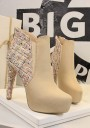 Khaki Round Toe Stiletto Patchwork Fashion Ankle Boots