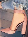 Pink Point Toe Chunky Buckle Fashion High-Heeled Shoes