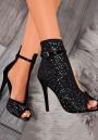 Black Round Toe Rhinestone Stiletto Fashion High-Heeled Shoes
