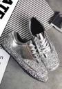Silver Round Toe Sequin Cross Strap Fashion Flats