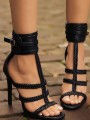 Black Round Toe Stiletto Buckle Fashion High-Heeled Sandals