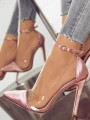 Pink Point Toe Stiletto Patchwork Buckle Fashion High-Heeled Shoes