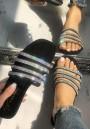 Black Round Toe Flat Rhinestone Casual Slippers