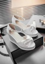 White Piscine Mouth Bow Wedges Fashion High-Heeled Sandals
