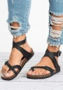 Black Round Toe Cut Out Fashion Ankle Sandals