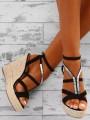 Black Round Toe Wedges Rhinestone Fashion High-Heeled Sandals