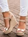 Golden Round Toe Wedges Buckle Fashion High-Heeled Sandals