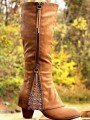 Khaki Round Toe Lace Chunky Fashion Mid-Calf Boots