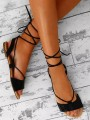 Black Round Toe Flat Cross Strap Fashion Ankle Sandals